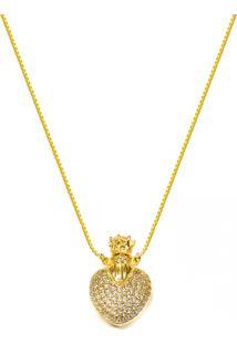 Gargantilha Prata Mil Perfumeiro Coração Folhedo Em Ouro C/ Zirconias Dourado