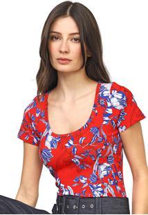 Camiseta Forum Estampada Vermelha/Azul