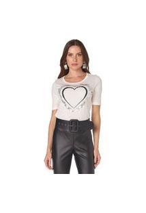 T-Shirt Com Gola Redonda Luleg Off-White