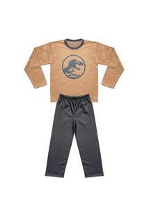 Pijama Juvenil Look Jeans Longo Dino Bege