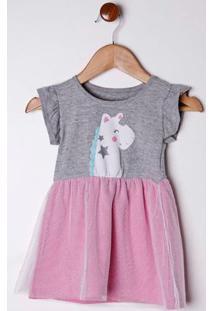 Vestido Infantil Para Bebê Menina - Cinza/Rosa