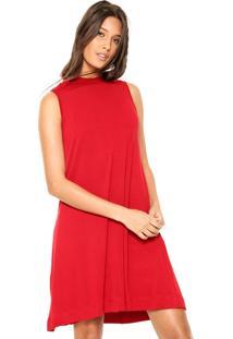 Vestido Cantão Curto Gola Vermelho