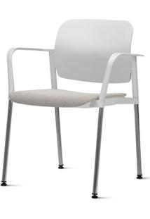 Cadeira Leaf Com Bracos Assento Estofado Branco Base Cromada - 54265 Sun House