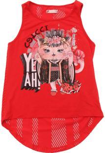 Camiseta Colcci Fun Menina Frontal Vermelha