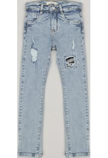 Calça Jeans Infantil Super Skinny Com Puídos Azul Claro