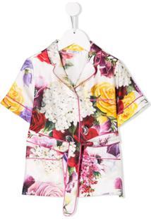 Dolce & Gabbana Kids Blusa De Pijama Com Estampa Floral - Branco