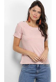 Camiseta Adooro! Listrada Botões Feminina - Feminino-Rosa