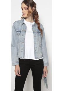 Jaqueta Jeans Com Franjas- Azul Claro & Cinzalevis
