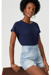 Amaro Feminino T-Shirt Cropped Sustentável, Marinho
