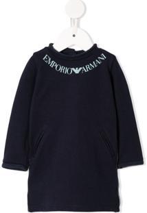 Emporio Armani Kids Vestido Mangas Longas Com Estampa De Logo - Azul