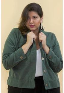 Jaqueta Curta Plus Size Kaue Plus Size Feminina - Feminino-Verde