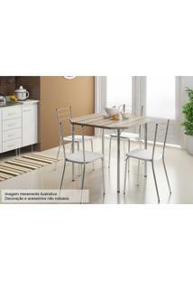 Sala De Jantar Carraro Mesa 1510+4 Cadeiras Crom/Branco