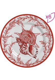 Conjunto De Pratos Para Sobremesa Conchas- Branco & Vermscalla Cerâmica