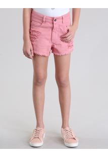Short De Sarja Infantil Destroyed Rosa