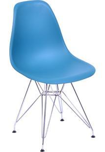 Cadeira Com Base Cromada 1102-Or Design - Azul Petróleo