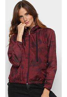Jaqueta Corta Vento Wall Estampada Com Capuz Feminina - Feminino-Vermelho Escuro