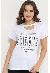 Camiseta Choker Coca-Cola Create Feminina - Feminino-Branco