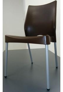 Cadeira Malba Base Fixa Pintada Cinza Cor Chocolate - 17537 - Sum House