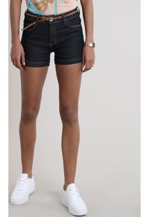 Short Jeans Feminino Barra Dobrada Com Cinto Azul Escuro