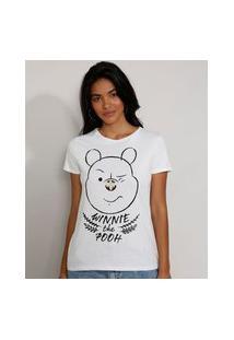 Camiseta Feminina Manga Curta Ursinho Pooh Decote Redondo Off White
