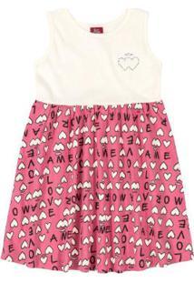 Vestido Infantil Coração Rosa