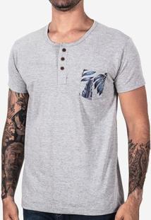 Camiseta Henley Mescla Bolso Folhas 102402