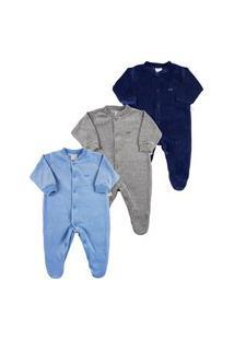 Macacáo Bebê Plush Kit 3 Peças Básicas Pijama Bebê Menino - Azul P