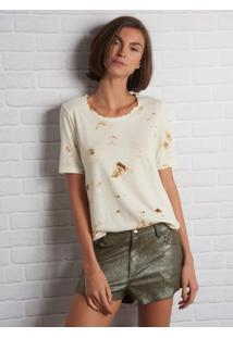Camiseta John John June Burn Malha Off White Feminina (Shirt June Burn, Pp)