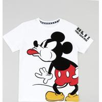 Camiseta Infantil Mickey Mouse Manga Curta Gola Careca Off White 94cc85a19014a