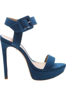 Sandália Salto Meia Pata Nobuck Blue | Schutz