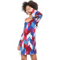 7d391e41fb73 Kanui. Vestido Malwee Curto Estampado Azul/Vermelho