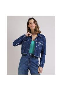 Jaqueta Jeans Feminina Cropped Com Bolsos E Barra Desfiada Azul Escuro