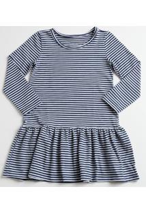 Vestido Infantil Listrada Manga Longa Marisa