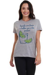 Camiseta Feminina Joss Tequila Com Limão Cinza Mescla - Kanui