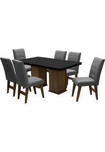 Conjunto De Mesa Para Sala De Jantar Com 6 Cadeiras Esparta-Dobue - Castanho / Preto / Grafite