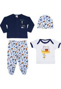 Conjunto Baby - Meninos - Calça, 2 Camisas E Touca - Marinho - Tip Top - M