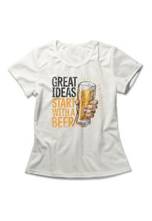 Camiseta Feminina Ideas With A Beer Off-White