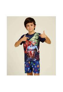Pijama Infantil Estampa Vingadores Marvel Tam 4 A 10