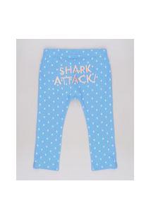 """Calça Infantil Shark Attack"""" Estampada De Tubarões Azul"""""""