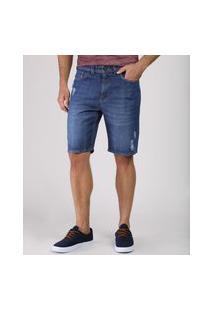 Bermuda Jeans Masculina Slim Com Rasgos Azul Escuro