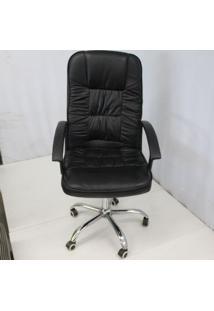 Cadeira Office Outlet American Confort Estofada Alta Preta Cromada - 10 - Sun House
