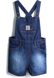 Jardineira Jeans Puc Menino Liso Azul