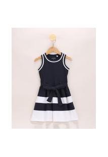 Vestido Infantil Com Recortes E Faixa Para Amarrar Sem Manga Azul Marinho