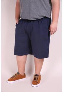 Bermuda Kauê Plus Size Moletinho Masculina - Masculino-Azul Petróleo