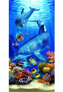 Toalha De Praia Dolphins Ocean- Azul & Bege- 76X152Cbuettner