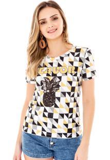 T-Shirt Amora Café Estampada Amarelo
