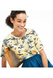 Camiseta Lacoste Estampada Feminina - Feminino-Amarelo