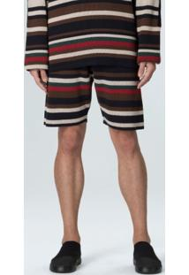 Bermuda Tricot Double Surfing The City-Marinho/Offwhite/Marrom - P