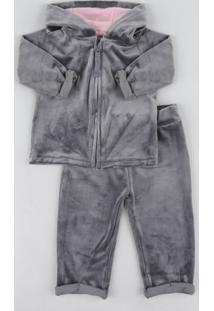 Conjunto Infantil Gatinha De Blusão Com Capuz + Calça Em Plush Chumbo