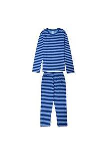 Pijama Infantil Malwee Liberta Manga Longa Masculino Azul